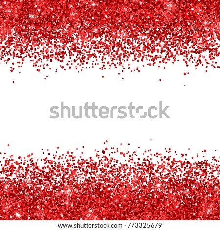 Red glitter on white background. Vector