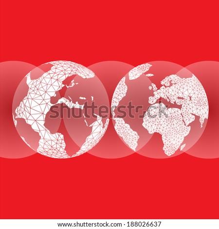 red globes ocean earth editable