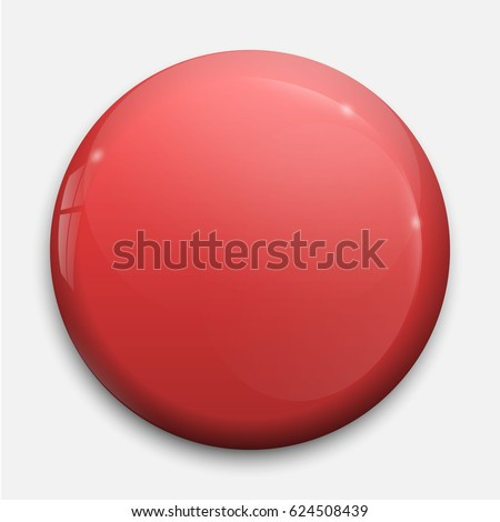 red glossy badge or button.