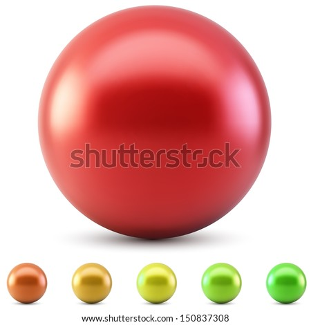 Stock Photo Red glossy ball vector illustration isolated on white background with warm color samples.