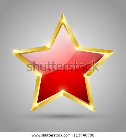 red glossy golden star isolated