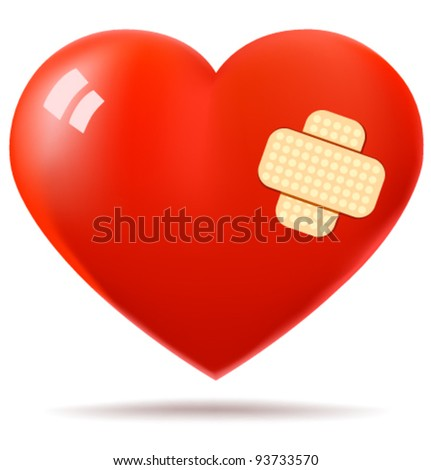red glossy heart repaired with