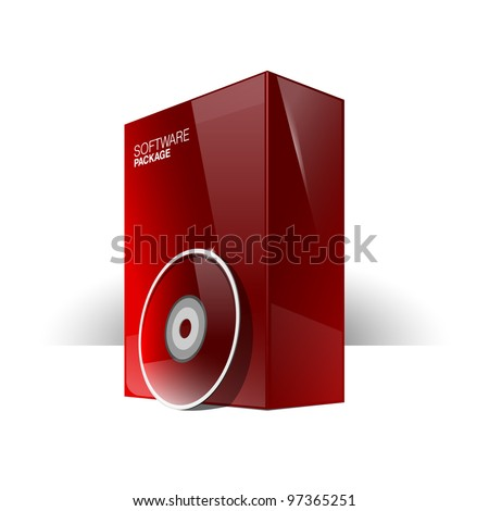 Red Glossy Package Box With DVD Or CD Disk