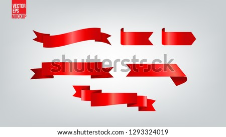 Red glossy ribbon vector banners set - Vector