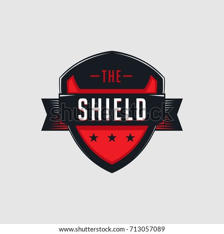 Red glossy sleek shield emblem or logo graphic template