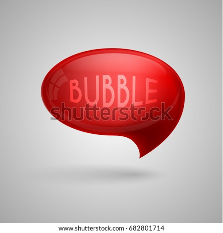 Red glossy speech bubble illustration on grey background