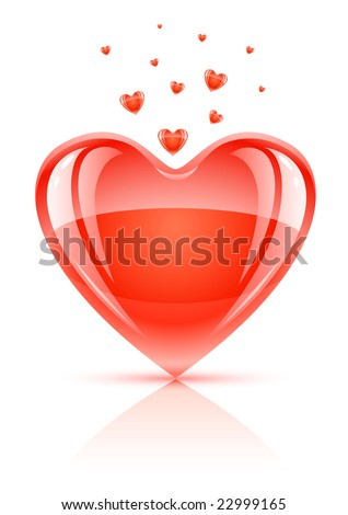 red glossy valentine's day symbol - glass love heart vector illustration