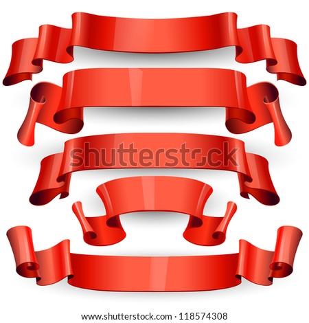 red Glossy vector ribbons on a white background for your design project