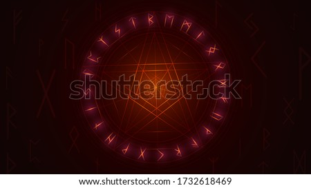 Red glowing star in a circle on a black background and magic runes, witch illustration with a pentagram Stock photo ©