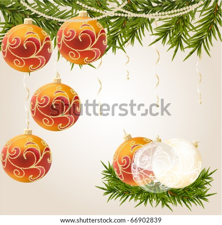 red, gold and transparent Christmas ball on New Year tree, vector illustration
