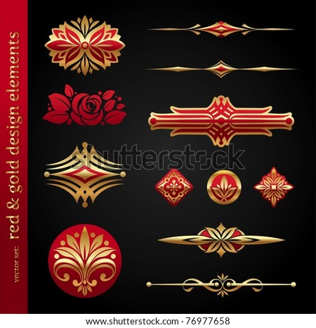 Red & gold luxury vector design elements