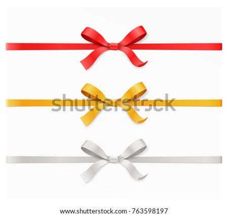 Red, gold, silver color bow knot and ribbon isolated on white background. Happy birthday, Christmas, New Year, Wedding, Valentine Day gift card or box concept. Closeup Vector illustration 3d top view