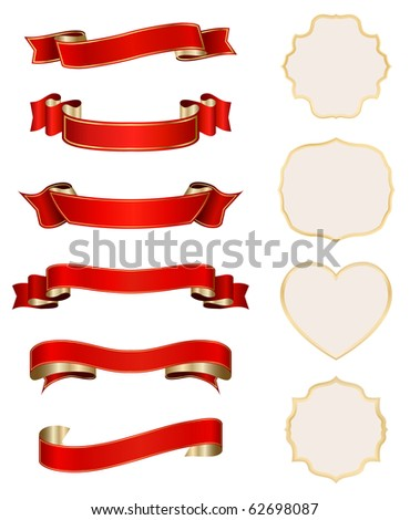 red-golden ribbons with ornate cards