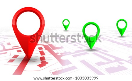 Red GPS navigator pointer on city map, from place to place – vector