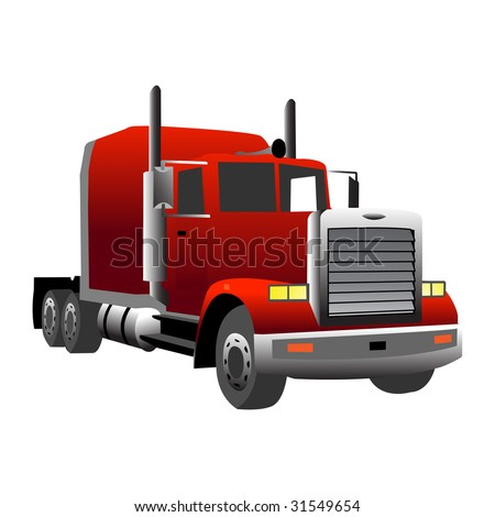 red gradiented truck, vector illustration