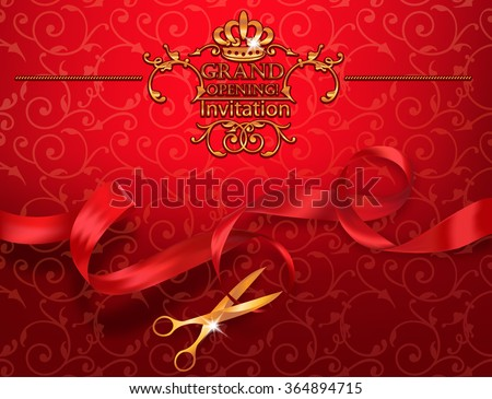 Scissors grand opening illustration download free vector art red grand opening invitation card with scissors and red ribbon stopboris Images