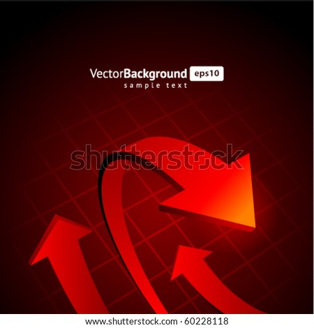 Red graph arrows vector background