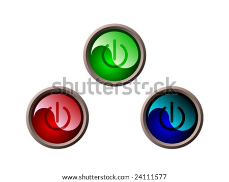 red, green and blue glossy power buttons