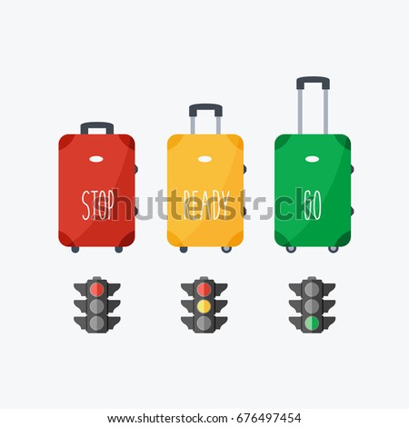 red, green and yellow light suitcase with opened and closed modern handle with wheels. stop, ready, go. flat design travel luggage or baggage vector cartoon and stoplight or traffic lights isolated.