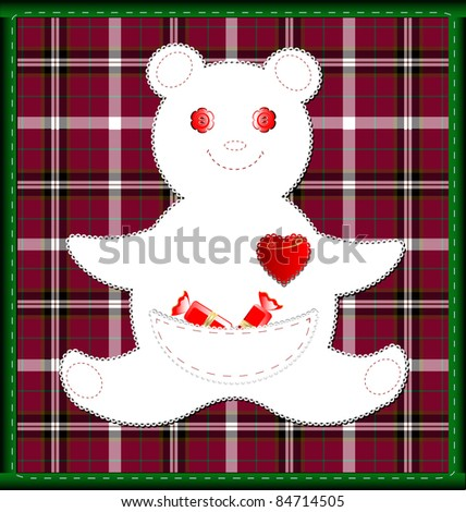 red-green background small bear