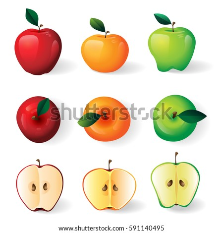 Red, green, yellow apples illustration, apple halves on white