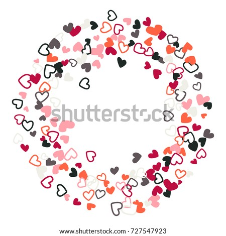 Red Grey Wedding Invitation Template Border Vector Flying Hearts