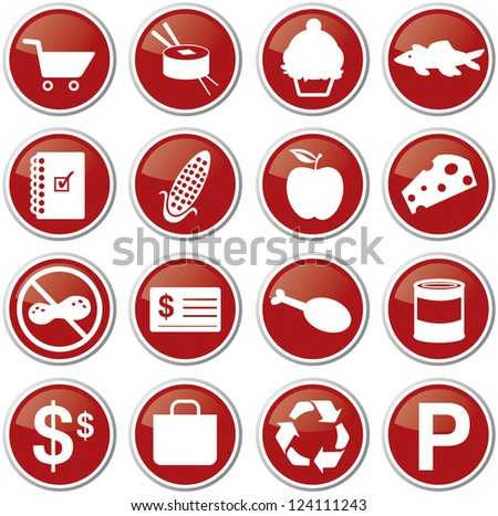 red grocery icon set