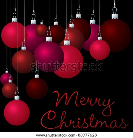 Red group of Christmas baubles in vector format.