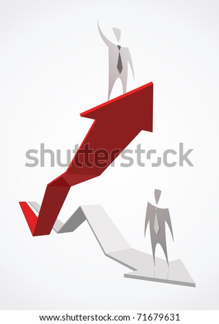 Red growing successful business graph and businessman