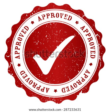 Red grunge approved rubber stamp isolated on white background