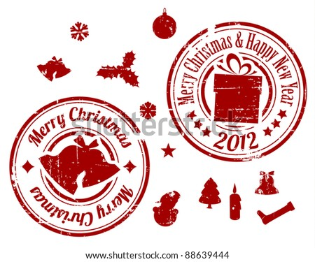 Red Grunge Christmas Vector stamps on white background