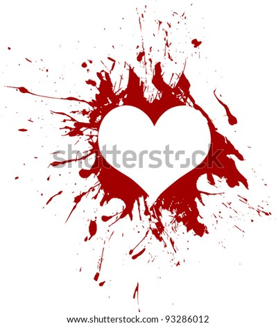 Red grunge heart, vector