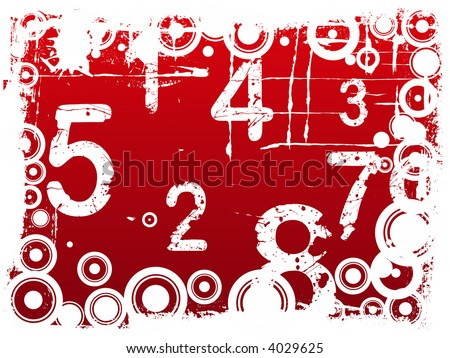 Red Grunge Illustration with Acid Etched Numbers and circles (Layered Vector)
