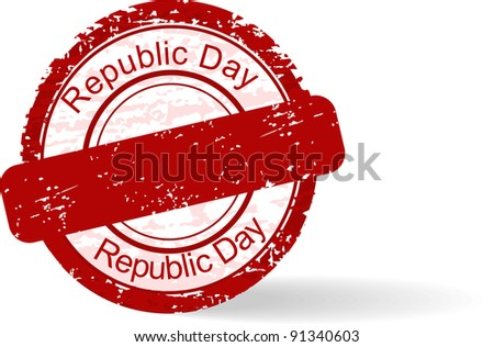 Red grunge rubber stamp of Republic Day on white background for Republic Day.