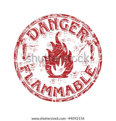 Red grunge rubber stamp with fire symbol and the text danger flammable written inside the stamp
