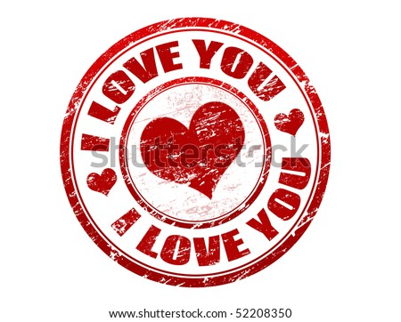 Red grunge rubber stamp with red heart and the text i love you written inside the stamp - stock vector