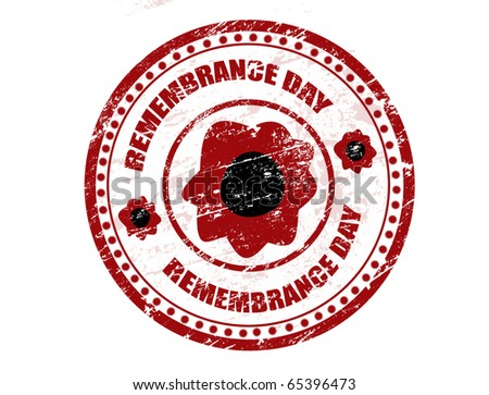 Red grunge rubber stamp with red poppy and the text Remembrance day written inside the stamp