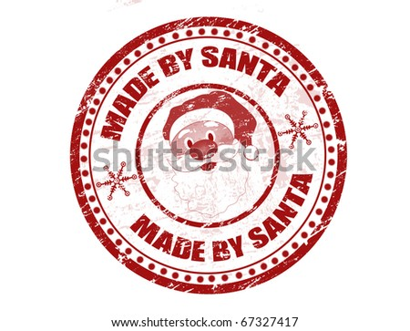 Red grunge rubber stamp with Santa shape and the text Made by Santa written inside the stamp