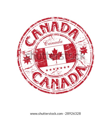 Red grunge rubber stamp with the canadian flag and the name of Canada written inside the stamp