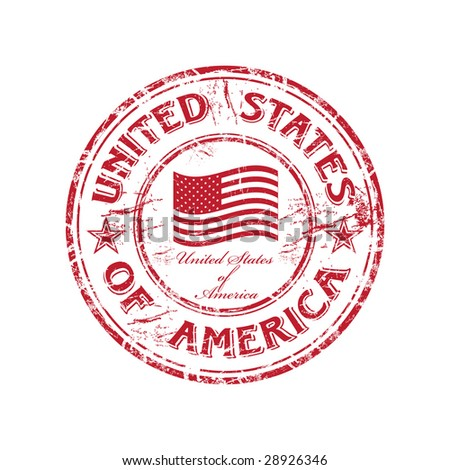 Red grunge rubber stamp with the flag of USA and the name of the United States of America written inside the stamp