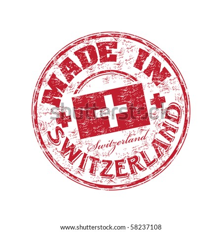 Red grunge rubber stamp with the text made in Switzerland written inside the stamp