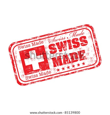 Red grunge rubber stamp with the text swiss made written inside the stamp
