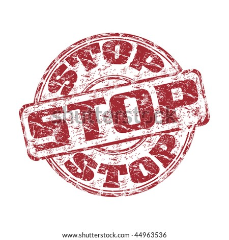 Red grunge rubber stamp with the word stop written inside the stamp