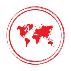Red grunge stamp circle vector map of World