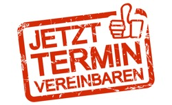 red grunge stamp with frame, big thumbs up and text arrange meeting now (in german)