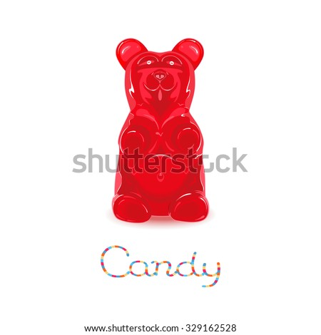red gummy bear candy isolated
