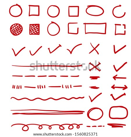 red hand drawn check, underline and oval marker with doodle style vector Сток-фото ©