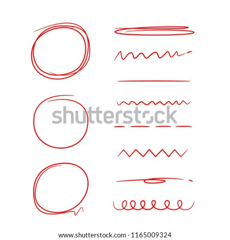 red hand drawn circles, underlines and marker elements