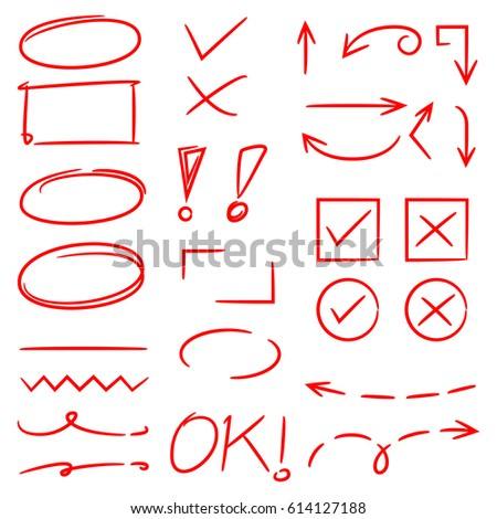 red hand drawn highlighter elements, arrows, check marks