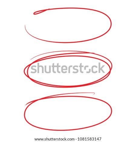 red hand drawn oval circle for marking some texts